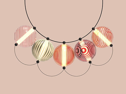 design lamp garland of colored spiral glass balls by Marina Daguet Nathan Baraness Episode studio