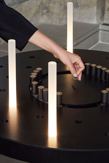 furniture interactive minimalist electric LED design candle holder modern church by Marina Daguet Nathan Baraness Episode studio