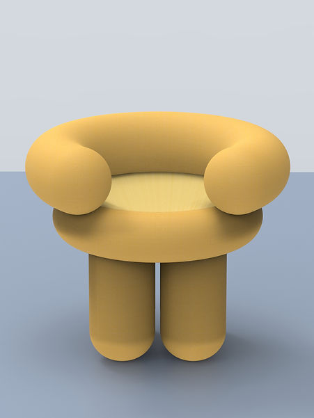Comfortable big yellow design chair bold cozy cartoon cute curvy by daguet Baraness Episode studio
