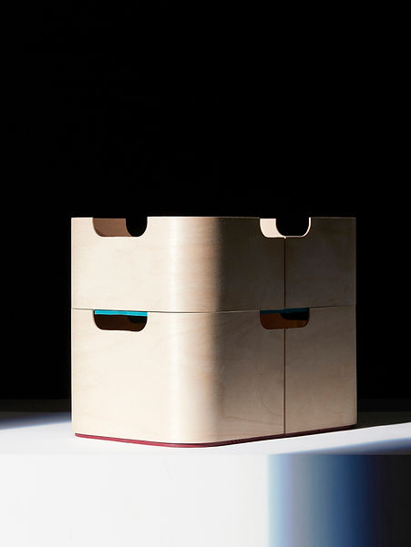 stackable light minimalist plywood design storage boxes with color details by Marina Daguet Nathan Baraness Episode studio