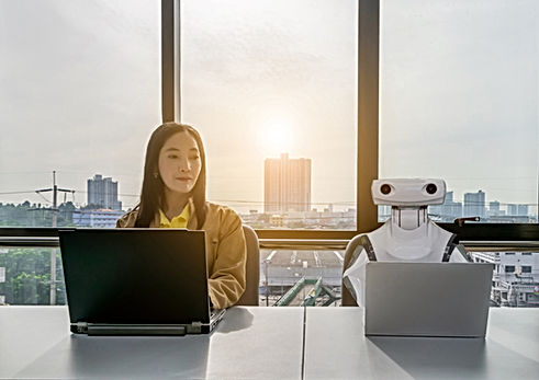 Working women and Robot computers in the