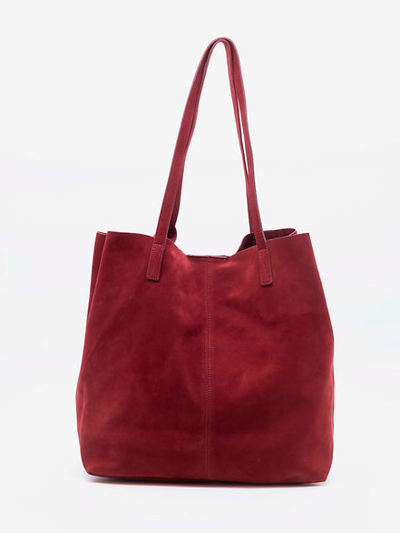 Sally design sac cabas tote bag pour femme nubuck rouge par Groom Studios