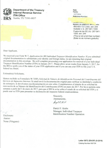 IRS ITIN letter 5872