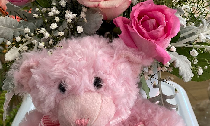 New baby gift - Pink teddy bear and roses $200