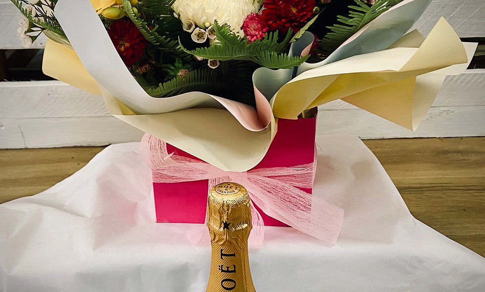Champagne and Flowers gift-pack $150
