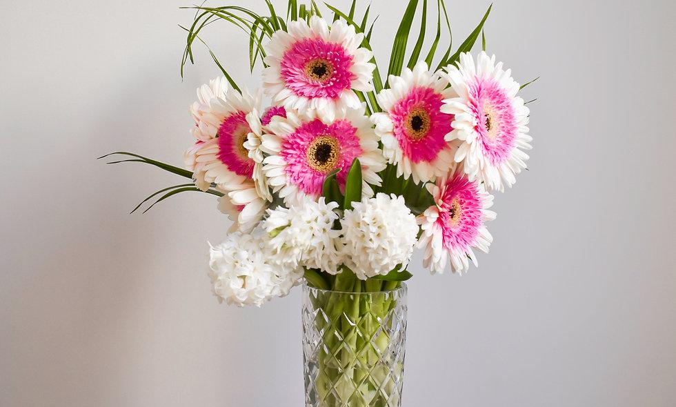 Pink on White summer/autumn bouquet. $60 - $120