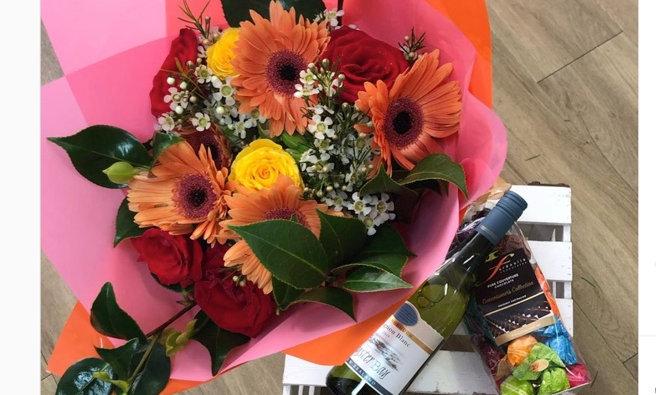 Wine, flower & chocolate gift-pack $95-$135