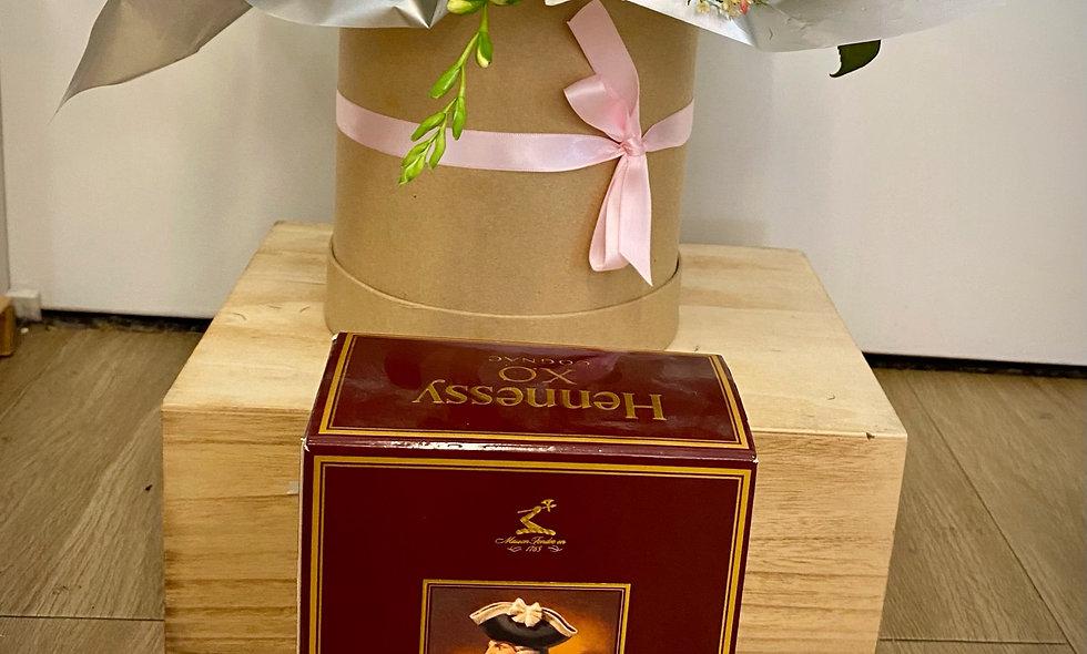 Hennessy XO Brandy (half-bottle)+ Flowers - $160