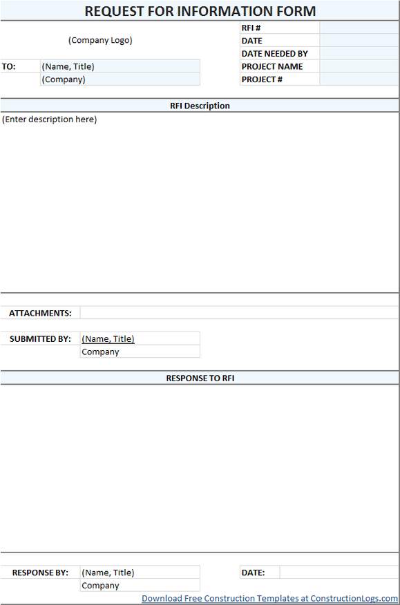 RFI Form Template Excel Download - Construction rfi template