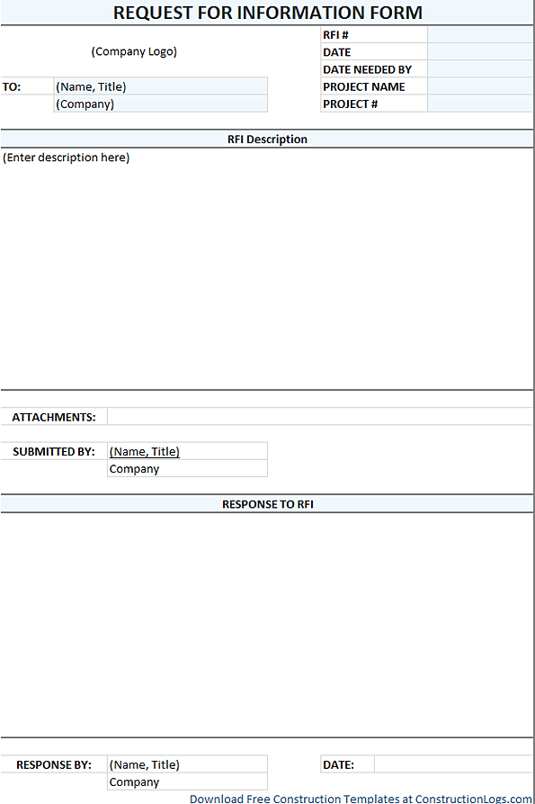 Download Free RFI Form Template for Excel – Construction Form Templates