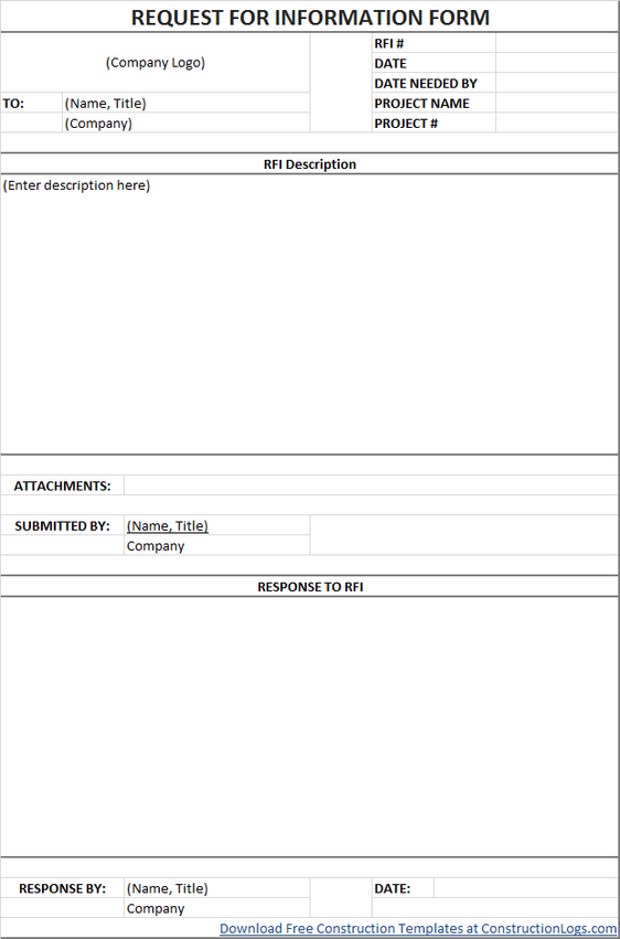Free Request for Information (RFI) Form Template