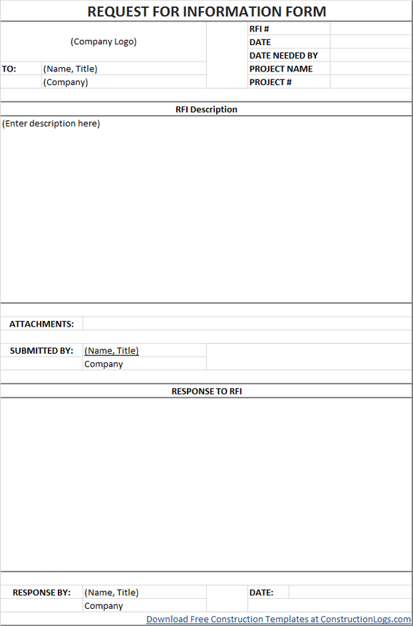 Free Request For Information Rfi Form Template