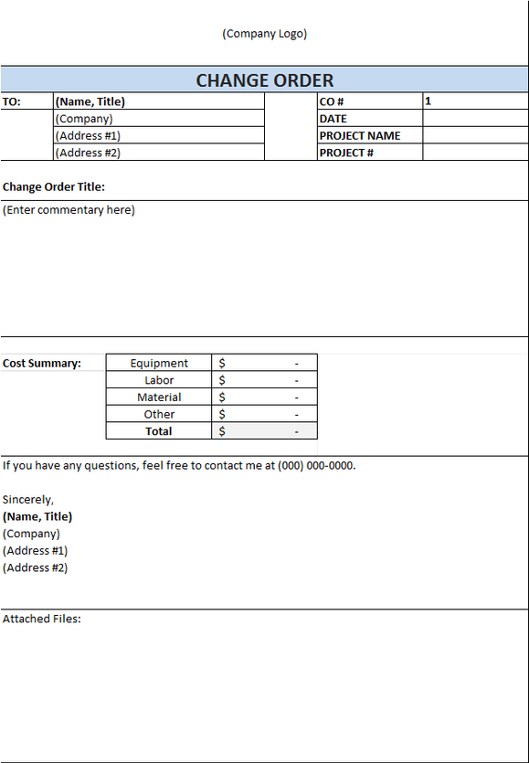 Download Construction Change Order Template