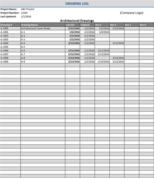 Excel Error Log: Construction Drawing Log Template Excel