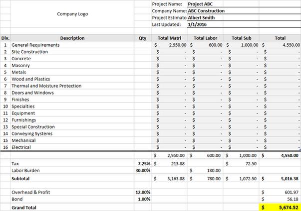 Construction Bid Template - Excel Download
