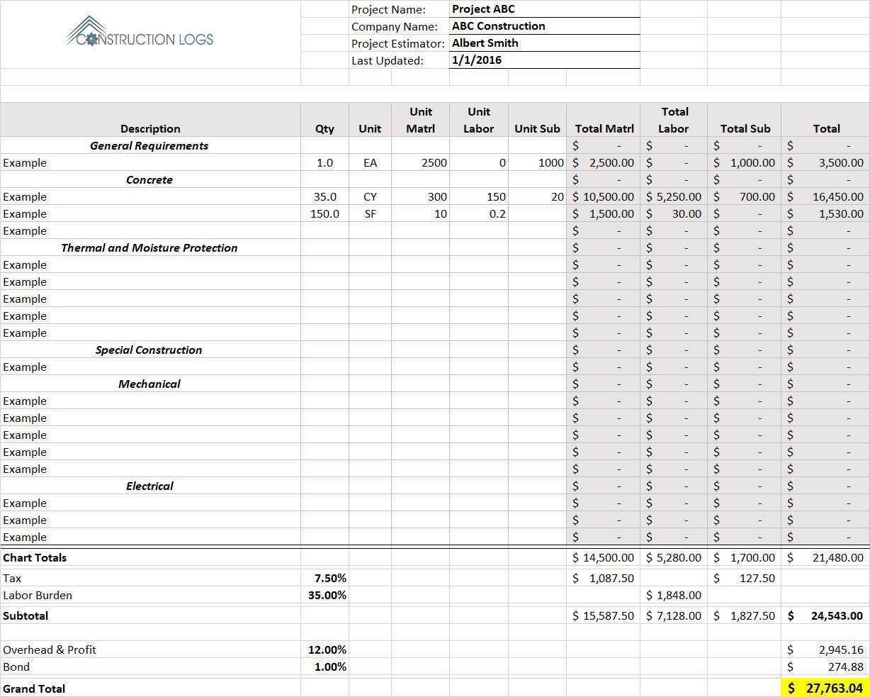 Construction Bid Estimate Template For Excel Constructionlogs
