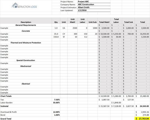 construction bid template excel download