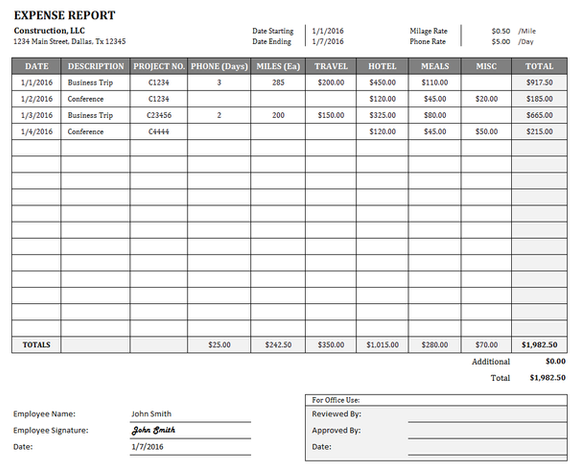 Construction Expense Report Template for Excel – Expense Report Form