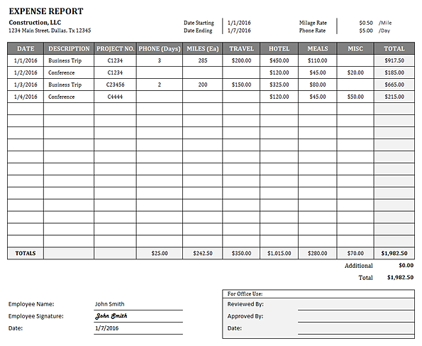 Construction Expense Report Template for Excel – Free Expense Reports
