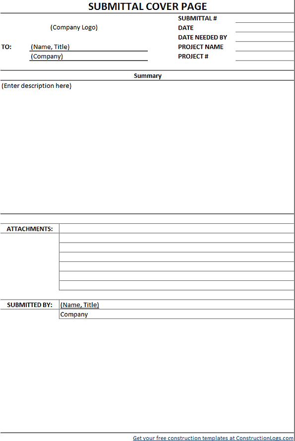 Download Free Submittal Form Template – Submittal Transmittal Form
