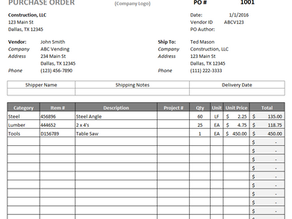 How To Write a Purchase Order for Construction
