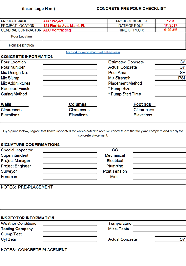 Concrete Pour Card Template Construction Logs
