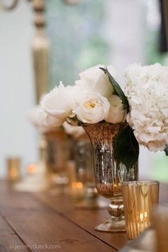 SIlver votives and vase