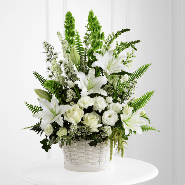 White and Green Funeral Arrangement