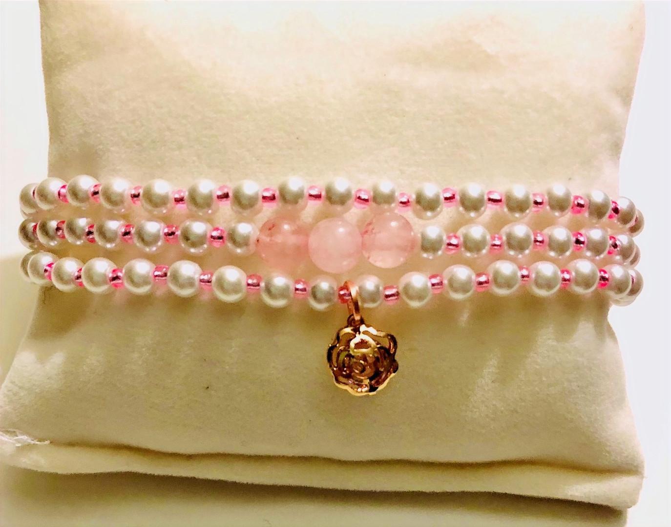 Rose Quartz with Flower charm Bracelet