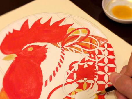 色紙、描いてます。
