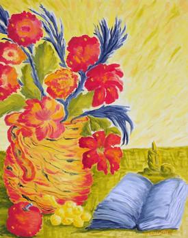 Fleurs et bougie - 2008.JPG