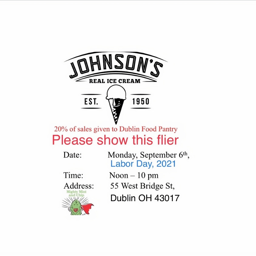 Labor Day at Dublin's Johnson's Real Ice Cream Fundraiser for Dublin Food Pantry