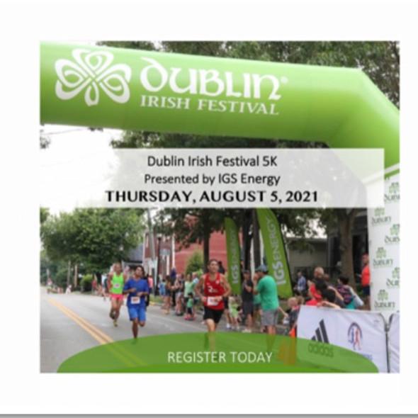 IN-PERSON + VIRTUAL Dublin Irish Festival/IGS Energy 5K (walk/run)