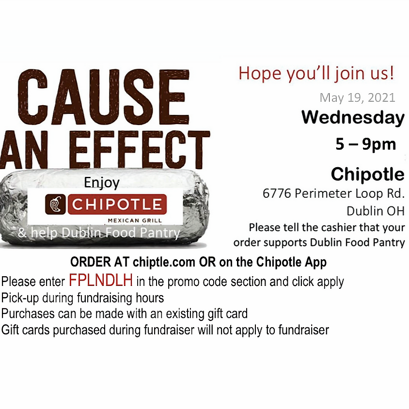 FUNdraiser Wednesday at Dublin Chipotle, please mention DFP at check out