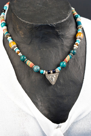 BEADED NECKLACE WITH STERLING SILVER