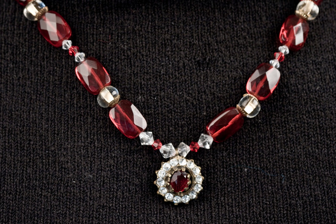 RED CRYSTAL AND ANTIQUE BUTTON NECKLACE