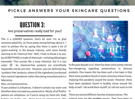 Skincare Questions: all about preservatives