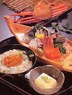 紅ズワイガニ カニ アワビ 刺身 舟盛り 海鮮料理