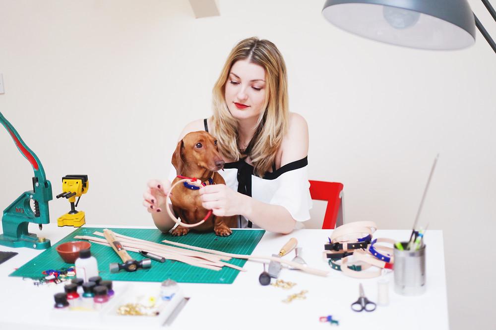 woman-and-dog-at-desk