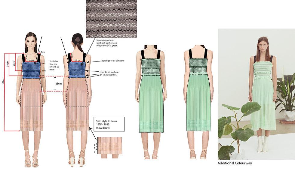 fashion portfolio mint dress tech pack