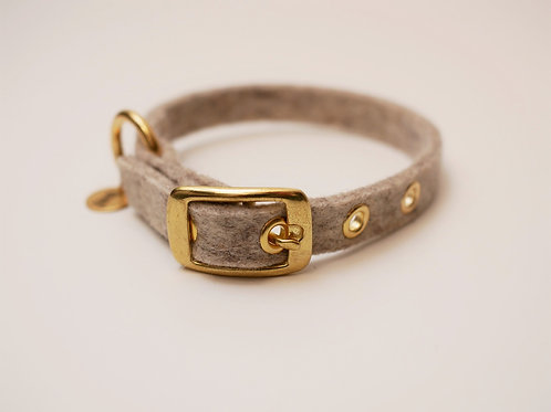 "Halsband ""Toni"" Basic aus Wollfilz - beige"