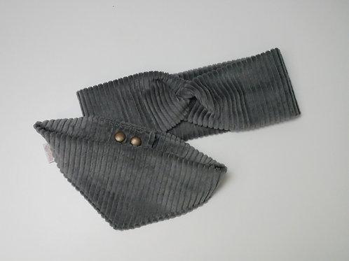 Cord-Stirnband - Grau