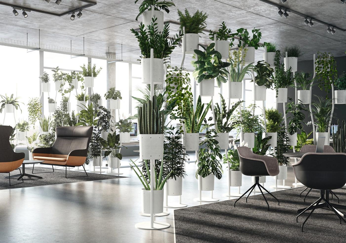Modulares Raum-Begrünungssystem Freistehender, moderner Pflanzenraumteiler
