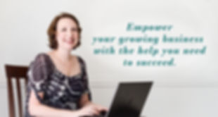 Color photo of smiling woman at computer Dash Virtual Solutions