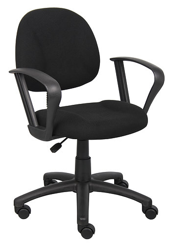 Boss Black Deluxe Posture Chair W/ Loop Arms