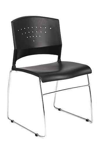 Boss Black Stack Chair With Chrome Frame, (set of 4)