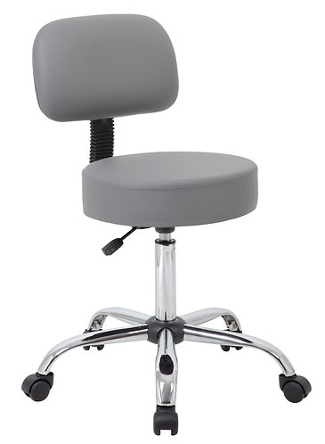 Boss Grey Caressoft Medical Stool W/ Back Cushion