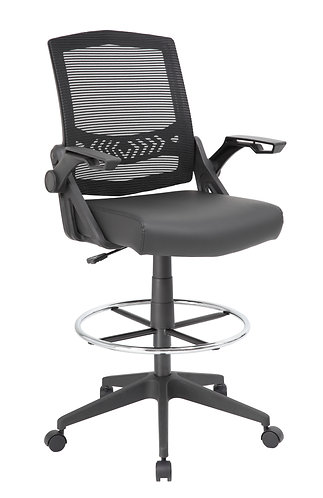 Boss Mesh Drafting Stool w/ Flip Arms