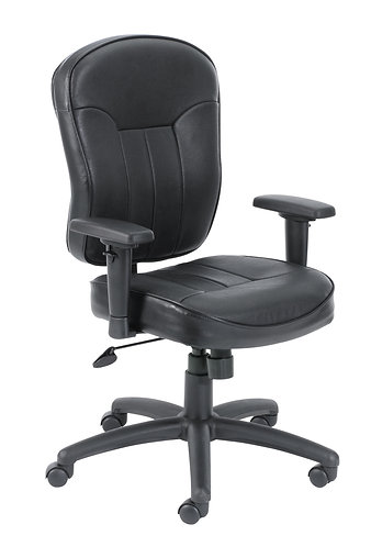 Boss Black Leather Task Chair W/ Wild Arms