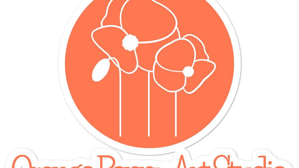 Orange Poppy Art Studio Sticker